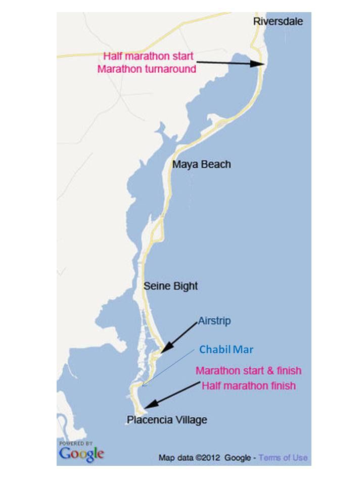 Marathon Map with Chabil Mar Belize Resort