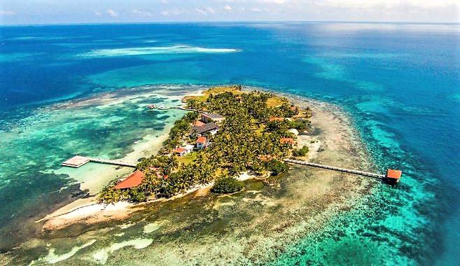 Aerial Hatchet Caye 2016 CROPPED Chabil Mar Resort Belize