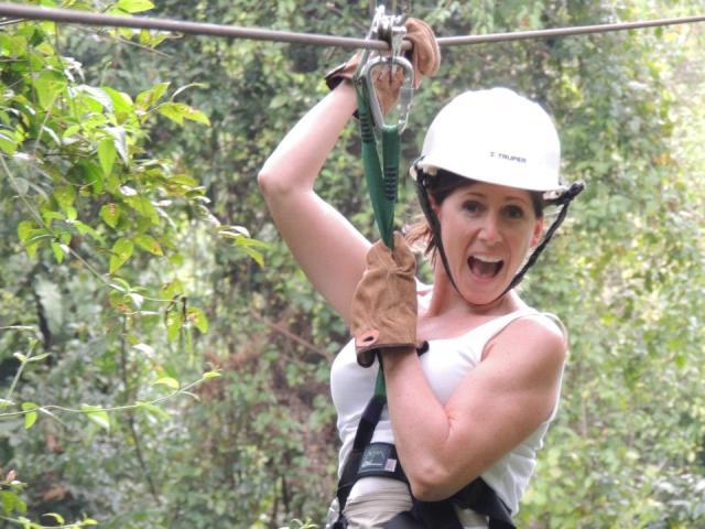 Zip Lining JoAnne Chabil Mar Belize Resort
