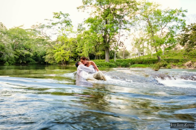 650 Xunaantunich River Rocks 3 Bride and Groom Wedding Chabil Mar Resort Belize