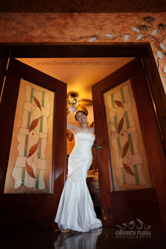 Bride 650 in honeymoon suite doorway Chabil Mar Belize Resort