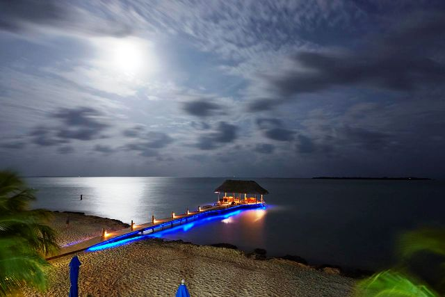 Pier at night Chabil Mar Belize Resort