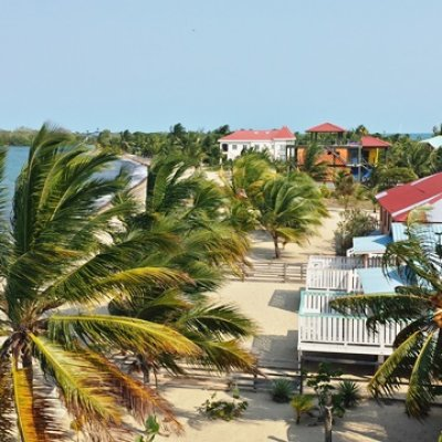 Aerial of Placencia Village on the Beach