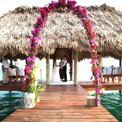 Wedding Ceremony on Pier at Chabil Mar