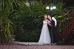 Wedding couple in garden